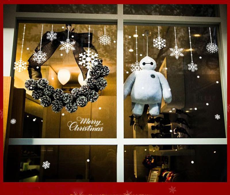 Happy New Year Christmas Decorations for Home Snowflake Glass Sticker Merry Christmas Decor Shop Window Sticker Navidad Natal (7)