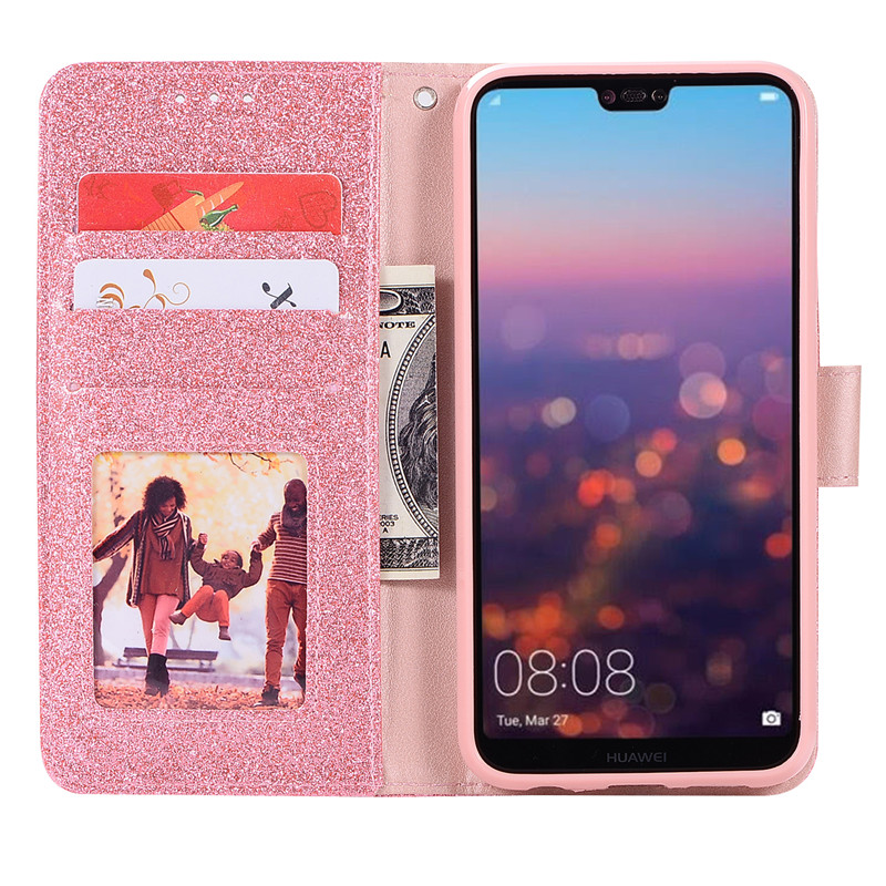 Case For Huawei P20 lite cover glitter Star diamond love flip wallet leather case For Huawei Nova 3e case silicon TPU back cover21