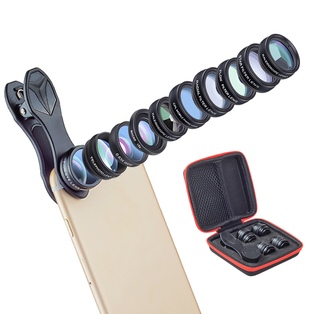 10in1 Phone camera Lens Kit Fisheye Wide Angle macro 2X telescope Lens for iphone xiaomi for samsung galaxy android phones