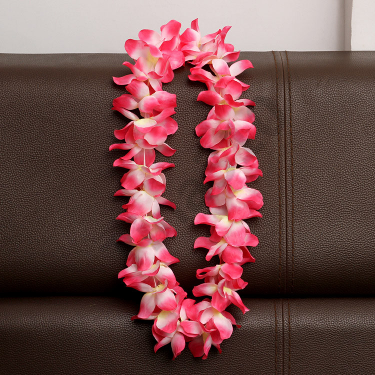 Artificial Flowers Wreath Party Decoration Hawaiian Wreath Wedding Birthday Christmas Supplies Hula Garland Flower Necklace T1I983