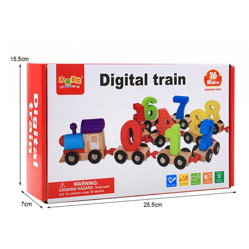 Baby Soft Wood Train Figure Model Toy with Number Pattern 0~9 Blocks Educational kids Wooden Toy children gifts toy