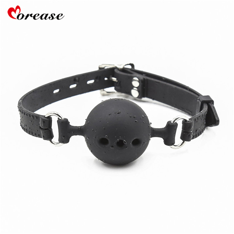 Morease Oral Sex Toy Mouth Gag Silicone Soft Ball Bondage Fetish Harness Slave Game Flirt Erotic Couples Adult Game BDSM Toy Y18102405