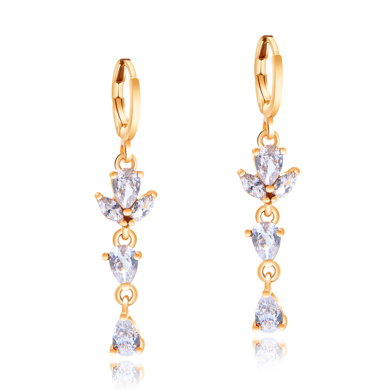 En forme de poire Multi couleur Arc-en-Mystic Topaz Gems Silver Dangle Crochet Boucles D/'oreilles