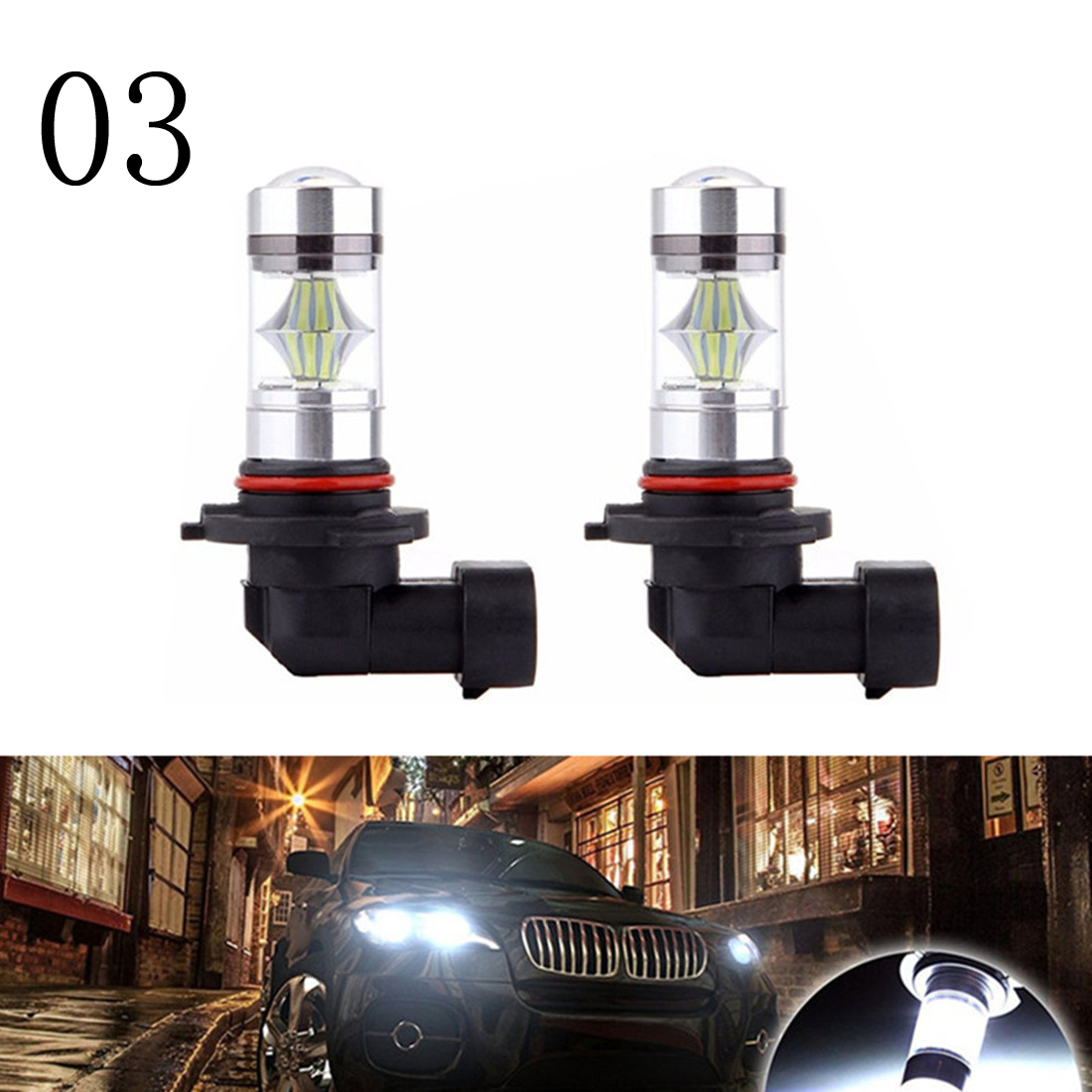 Set of 2, White BMT Canbus H3 LED Fog Lights Extremely Bright Car Bulbs 55W PK22S Auto Fog Light Foglight DRL Light Signal Lamps
