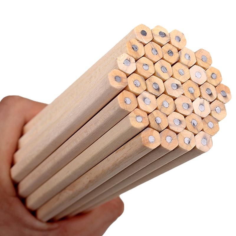 Wooden Pencils Raw Natural Wood Pencils HB Office School Supplies Graphite Pencils Painting Drawing Art Supplies Pencils 30Pcs