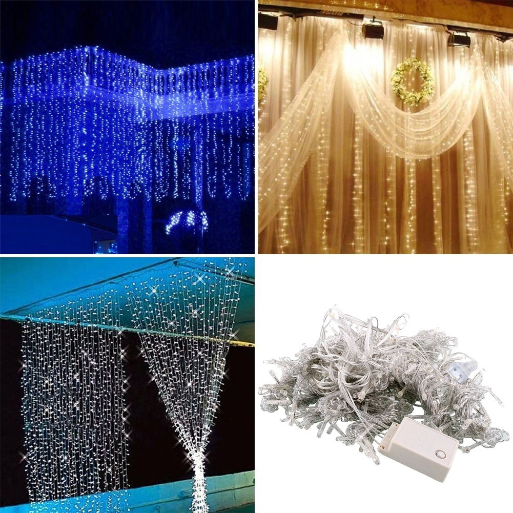 3 * 3m 300 LED Curtain Happy New Year Lights Christmas Decor Party Wedding Decoration Home Christmas Decorations.Q Y18102609