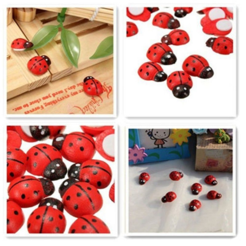 Artificial mini ladybugs insects beatle fairy garden miniatures gnome moss terrarium decor resin crafts bonsai home decor