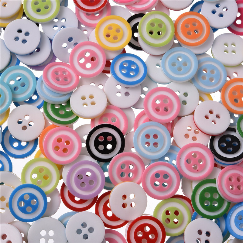 Aland 100pcs Mixed Flower Resin Buttons 2 Holes Sewing Scrapbook Cardmaking Craft 14mm