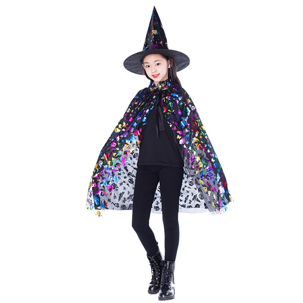 Neue Gold Rot Lila Kinder Happy Halloween Magier Kostüm Set Zauberer Hexe Mantel Cape Robe Und Hut Für Jungen Mädchen Geschenke