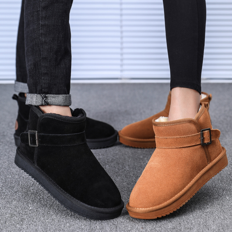 Classic Womens Mens Chelsea Cotton Boots Winter Warm Outdoor Plush Ankle Boots Lovers Flat Flock Slip-On High Heel Shoes EUR36-47