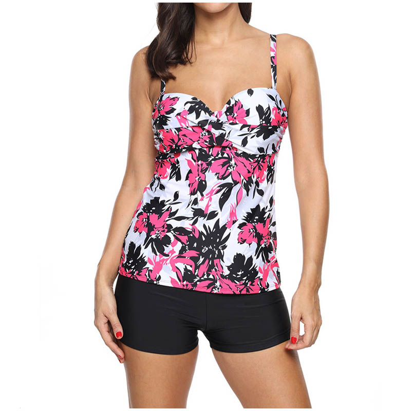 FS Female Floral Leaves Print Long Sport Swimsuit High Waist Trunks Bikinis Set Wrap Swimwear For Women Brazilian Bathing Suits_2