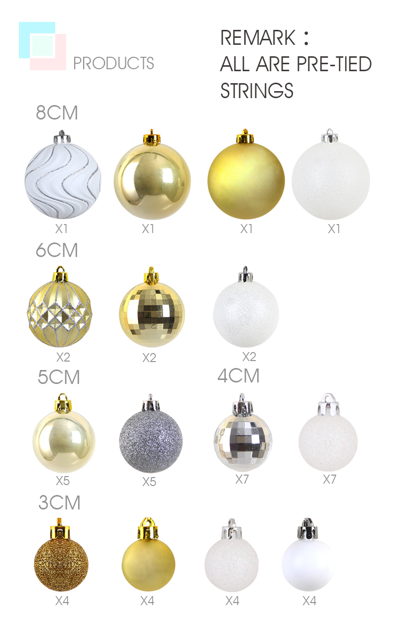 03 inhoo 50pcsset White gold balls Christmas Tree Decoration Ball Ornaments Pendant Accessories Decor For Christmas Home Party