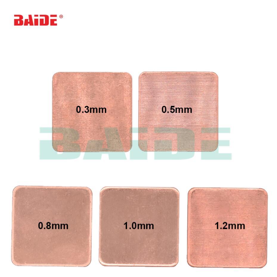 10pcs Laptop GPU CPU Heatsink Thermal Copper Sheet Shim Pad 15x15x0.5mm