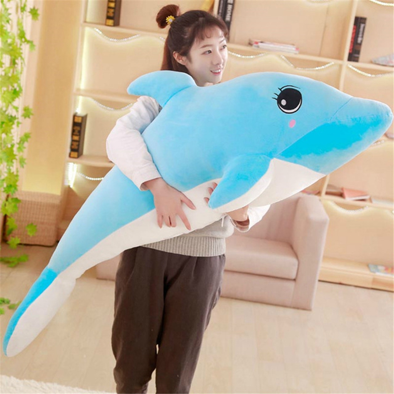 marine animal pillow Plush pillow,Large Fluffy Stuffed Plush Toy for Kids//adult Comfort Toy,Large simulation dolphin plush toy blue