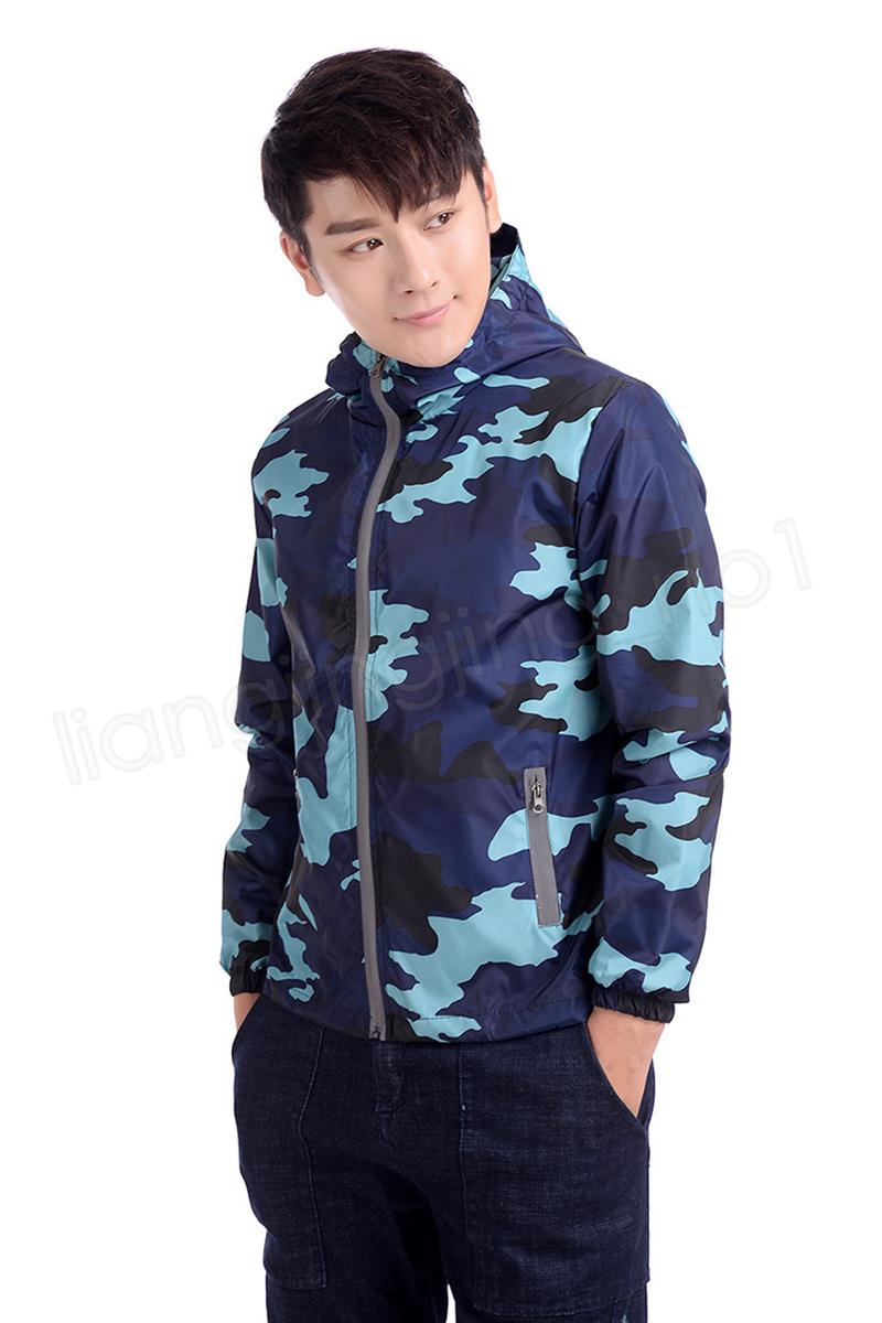Camouflage Hooded Jacket Cool Reflective Zipper Jacket couple Coat Windbreaker Waterproof Field Military Jackets Casual Coat GGA1069