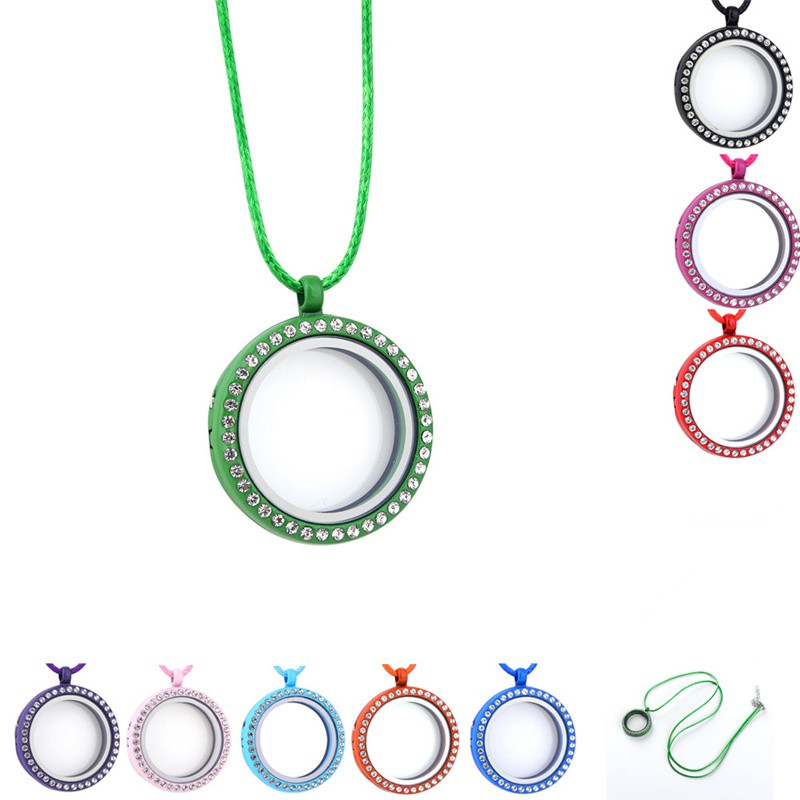 Fashion 30mm Multicolor Round Floating Memory Locket Necklace With Clear Rhinestone Living Magnetic Glass Lockets Necklaces Wholesale