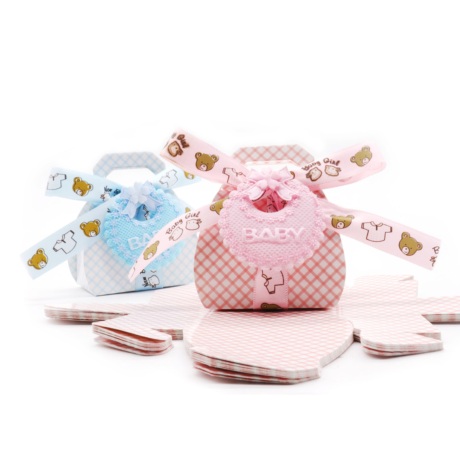 Baby shower Pink/blue Cute Cartoon bear paper candy bag gift candy box Kids birthday party DIY decorations supplies