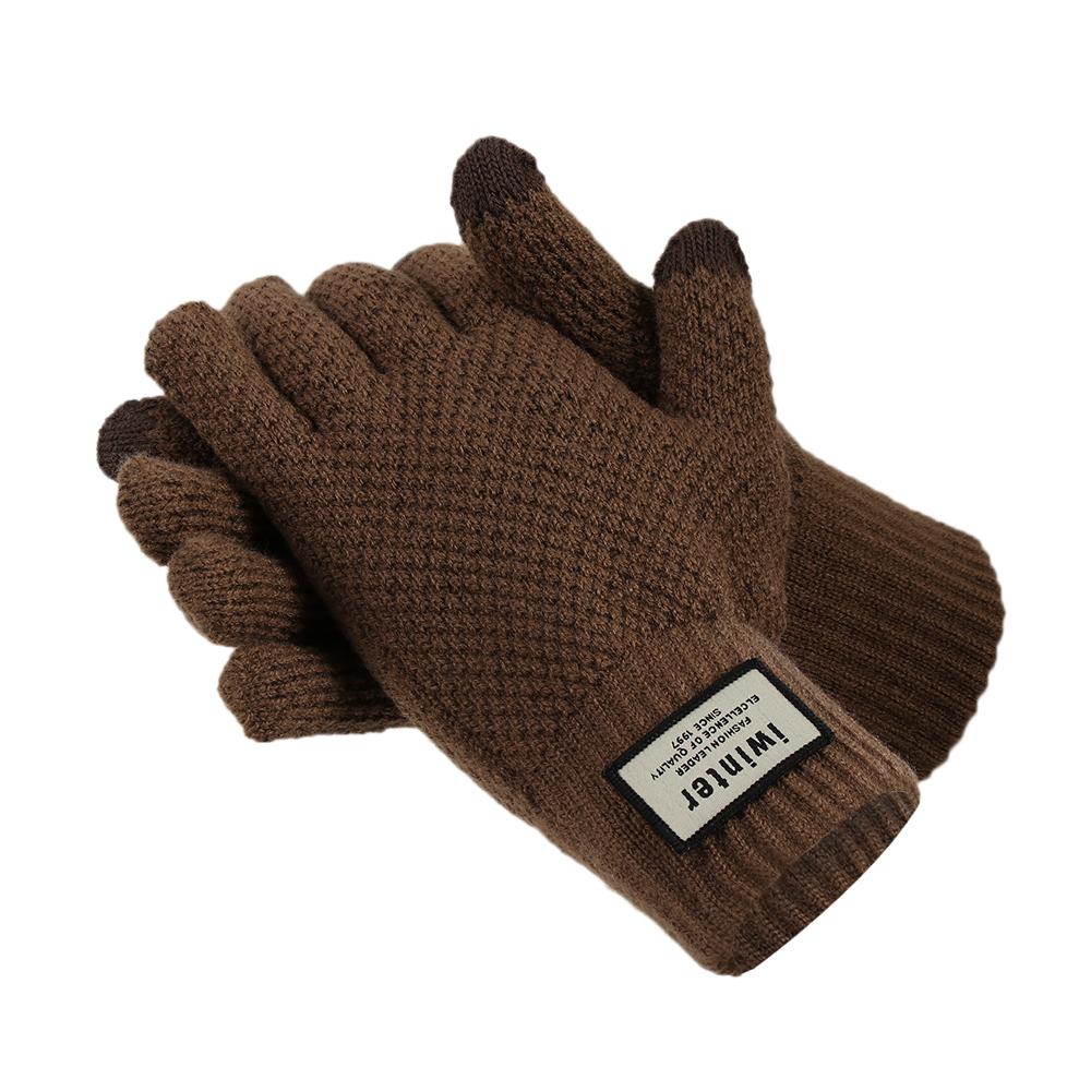 Black Autumn And Winter Men Thickening Warm Knitted Wool Fluff Gloves