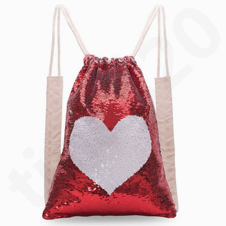 Hot New Style Mermaid Sequins Backpack Sports Bag Two-sided Unicorn Drawstring Backpack Outdoor Shoulder Bag Bundle Pocket T7D068