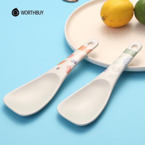 4PCS//Set Black /& Red Porridge Bowl Chinese Japanese Plastic Soup Spoons Flatware