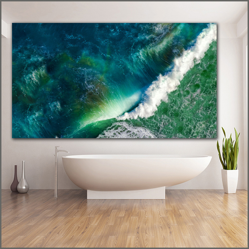 Large size Printing Oil Painting waves sea ocean stock wall art canvas print pictures for living room and bedroom No Frames Y18102209