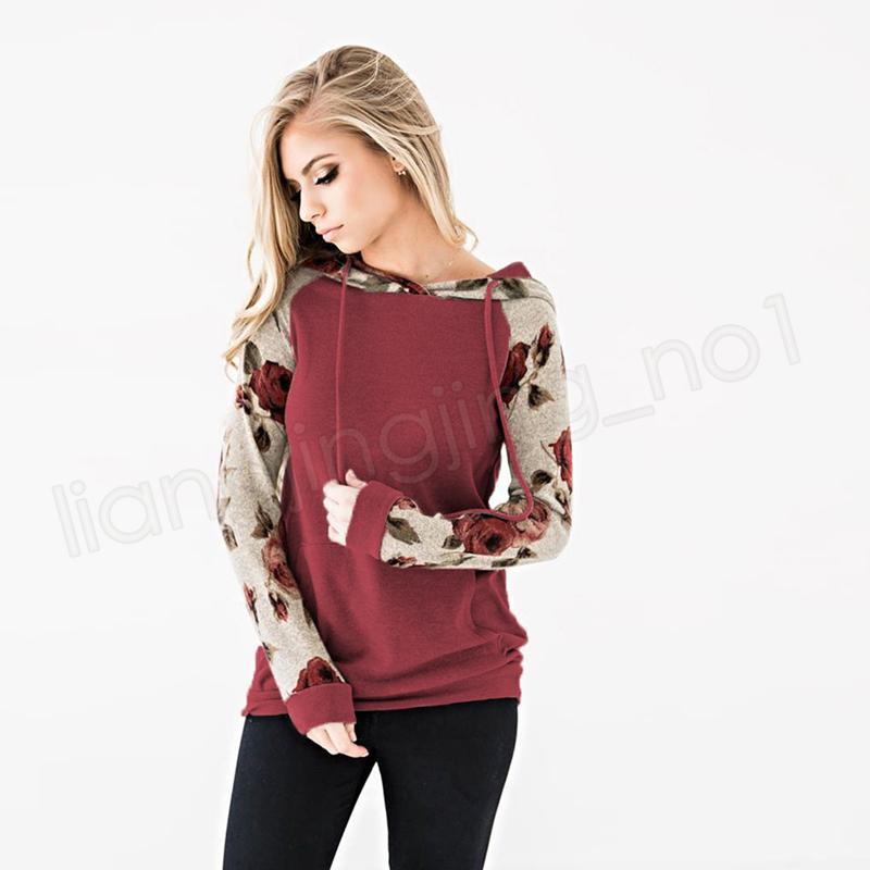 Women Hoodies Floral Print Hooded Autumn Long Sleeve Sweatshirts Fashion Print Tops Girls Casual Outerwear Hoodies home clothing GGA1155