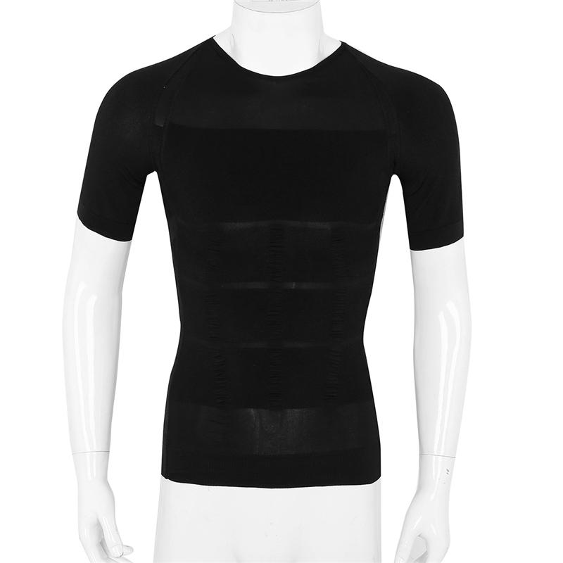 Mens Short Sleeve Round Neck Slimming Body Shaper Compression Shirt Undershirt Abdomen Slim Shirt Tummy Waist Shirt