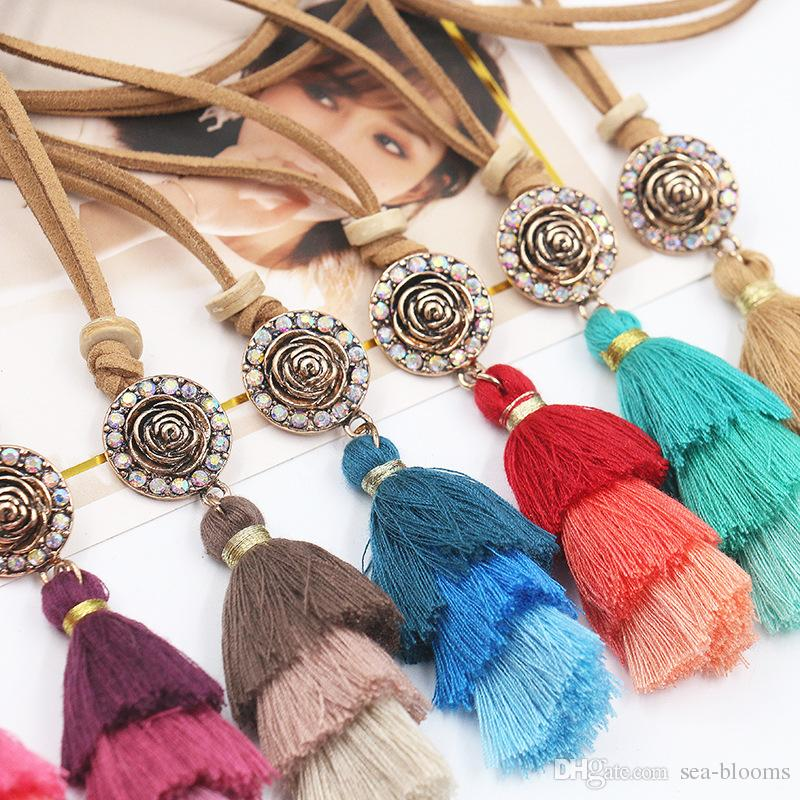 Colorful Bohemian Fringed Necklace Tassel Pendant Long Leather Rope Chain Necklace For Women Sweater Chain Support FBA Drop Shipping G983R
