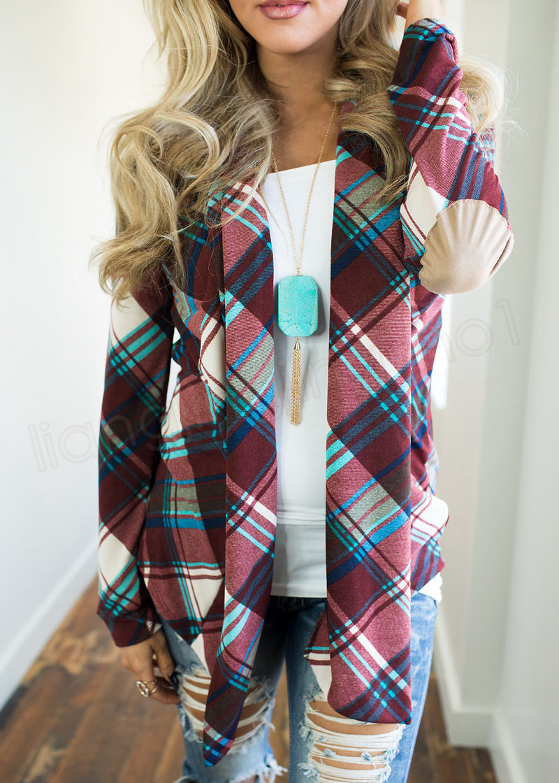 Plaid Cardigans Mujeres Otoño Irregular Impreso Frente Abrigo Suelto Abierto Manga Larga Suéter Patchwork Outwear Chaquetas Abrigo A Cuadros GGA1019
