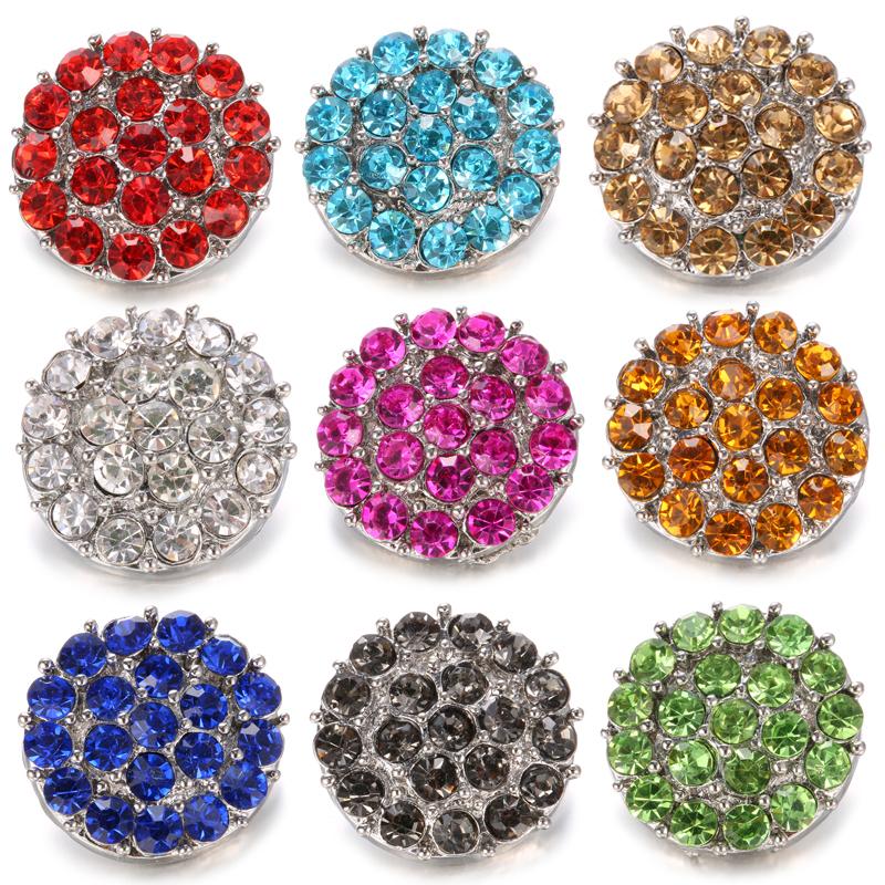 10pcs 18mm Gem Rhinestone Alloy Snap Buttons Fit Noosa Snap Bracelet N670