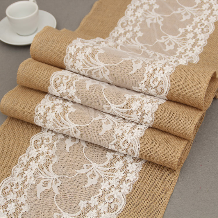30X275CM Long Burlap Table Runner Cloth Lace Flower Hessian Country Wedding Party Decor /