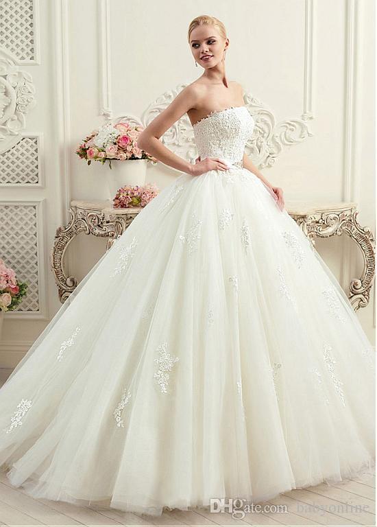 Vestidos de novia 2017 A Line Wedding Dresses Corset Back with Sash Appliqued Strapless Bridal Gowns Floor Length