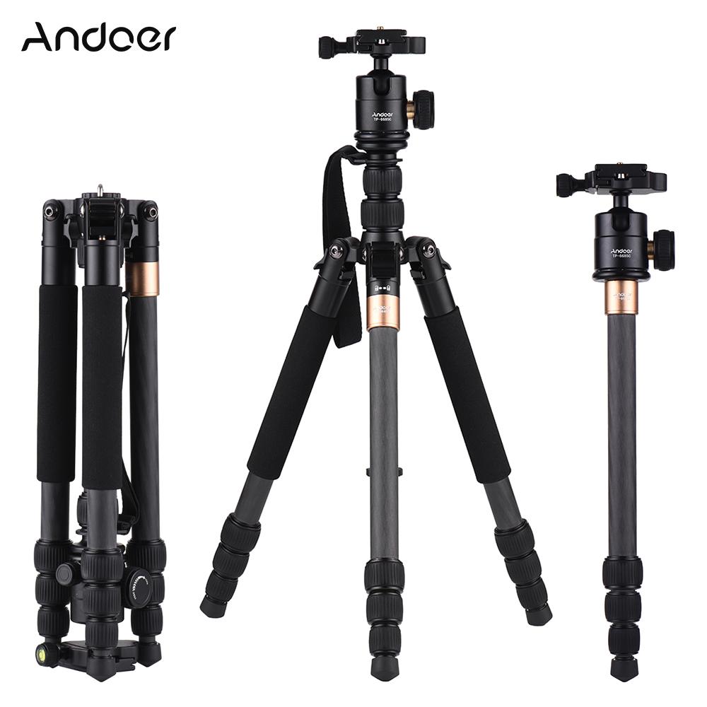 Trípode al por mayor TP-668SC Trípode portátil de viaje de fibra de carbono Monopod con Cabezal de bola panorámica para Canon Nikon Sony DSLR