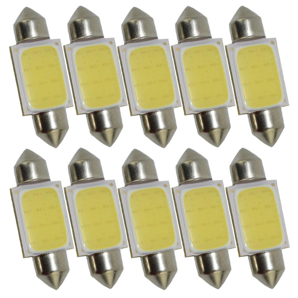 10PCS//Set 31mm C5W DC12V FESTOON COB 12 Chip White LED Bulb Car Decoration Light