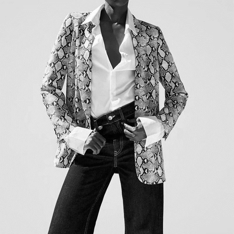 Womens Blazers Long Sleeve Snake Skin Print Long Style Hidden Breasted Ladies Blazers Women Streetwear Outwear S M L (2)_