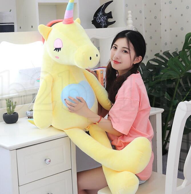 Cartoon Soft Unicorn Pillow Toys Regali di San Valentino Kids Girls Toys Big Cute Unicorn Peluche Bambola Giocattoli ripiene KKA6160