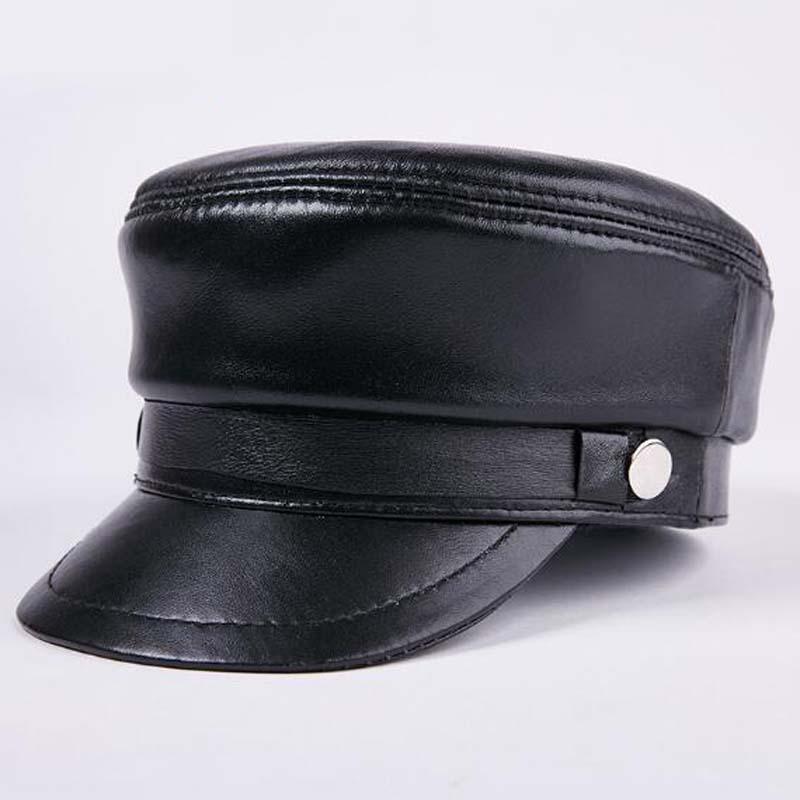 Nouveau femme homme 100/% Cuir véritable police chapeau//Newsboy Caps//Navy Hat