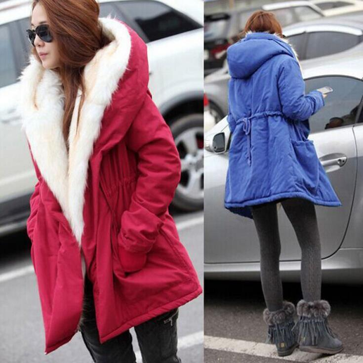 Frauen Fell Kapuze Parkas Mäntel 4 Farben Einstellbare Taille Lange Outwear Lässige Warme Daunenjacke OOA5877