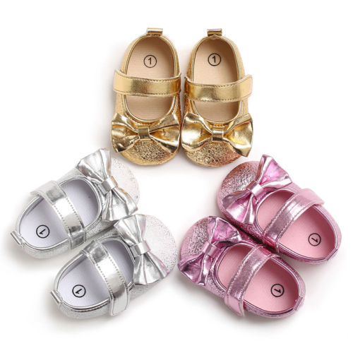 Summer nœud nouveau-né fille bébé semelle souple chaussures Crib Prewalker Chaussures