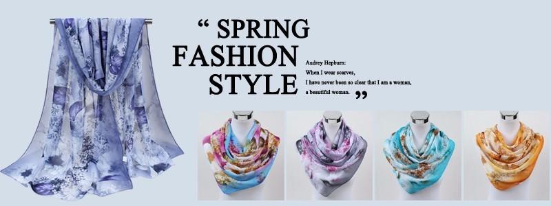 fashion Brand Designed 2018 scarf thin chiffon polyester silk scarf spring and autumn accessories women