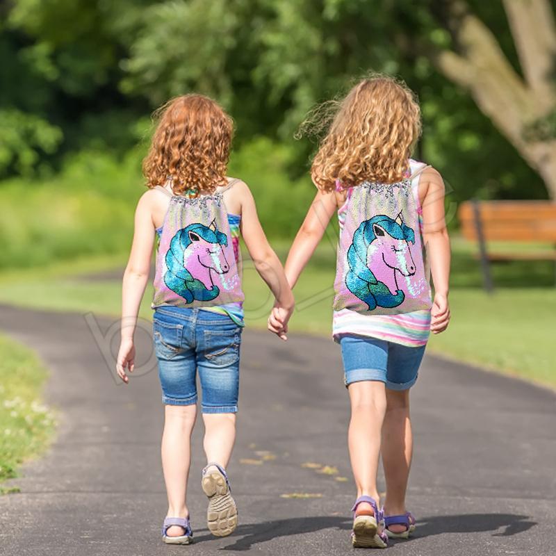 Einhorn Pailletten Drawstring Taschen Mädchen Frauen Baumwolle Meerjungfrau Rucksäcke Pailletten Make-Up Tasche Reisetasche Lagerung Kleidung Schuhe Taschen GGA1270