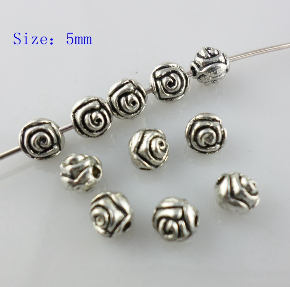60Pcs Tibetan Silver Tone Tiny Rose Flower Spacer Beads Charms 5mm
