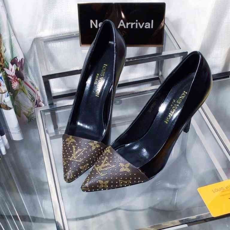 2019 moda feminina dress shoes primavera e verão nova moda de salto alto sapatos único couro genuíno e elegante