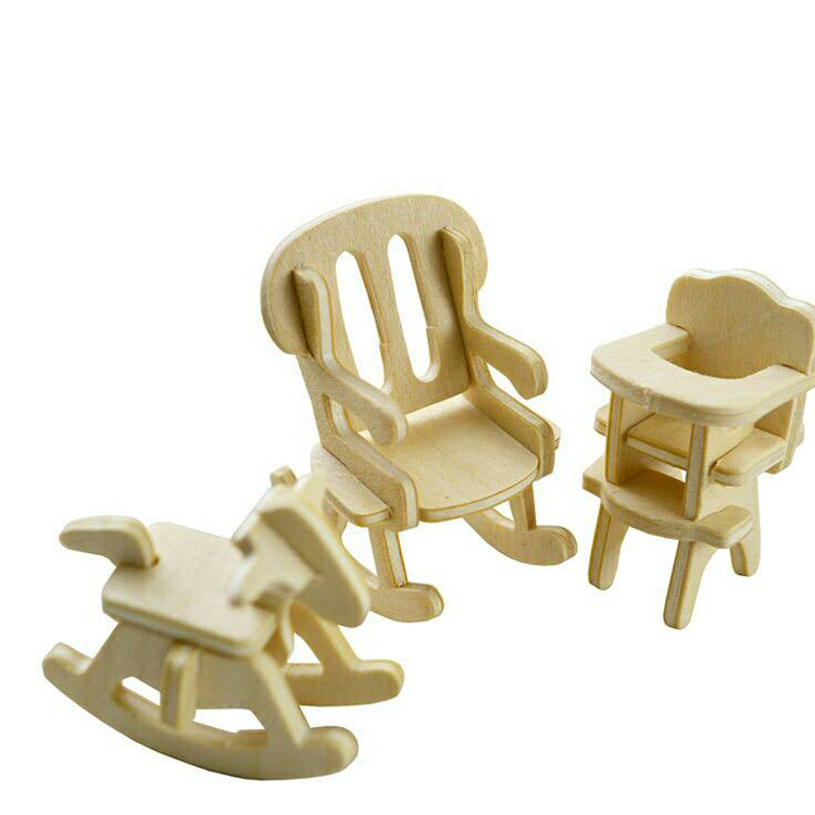 DIY Mini Kids Educational Dollhouse Furniture 3D Woodcraft Puzzle Model Kit Handmade Toys Children Handworked gift