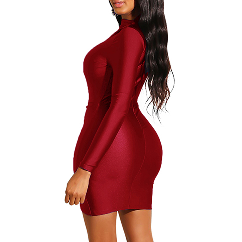 Women Long Sleeves Bodycon Dress Turtleneck High Waist Elegant Sexy Female Vestidos Ladies Party Dress Ruched Casual Mini Dress Y19051001