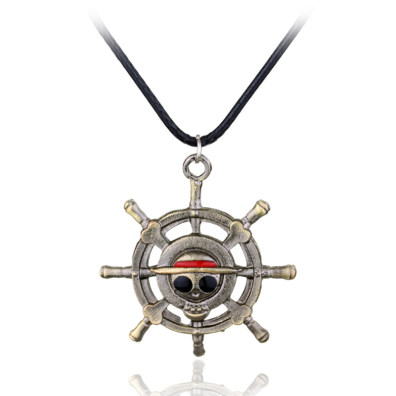 Hot Sale Anime One Piece Law Smile Face Necklace Alloy Rotatable Pendant Jewelry