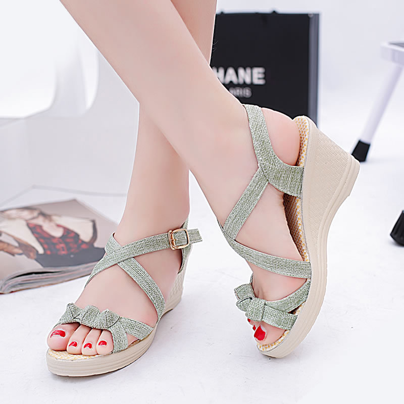 Discount Green Cross Wedge Shoes