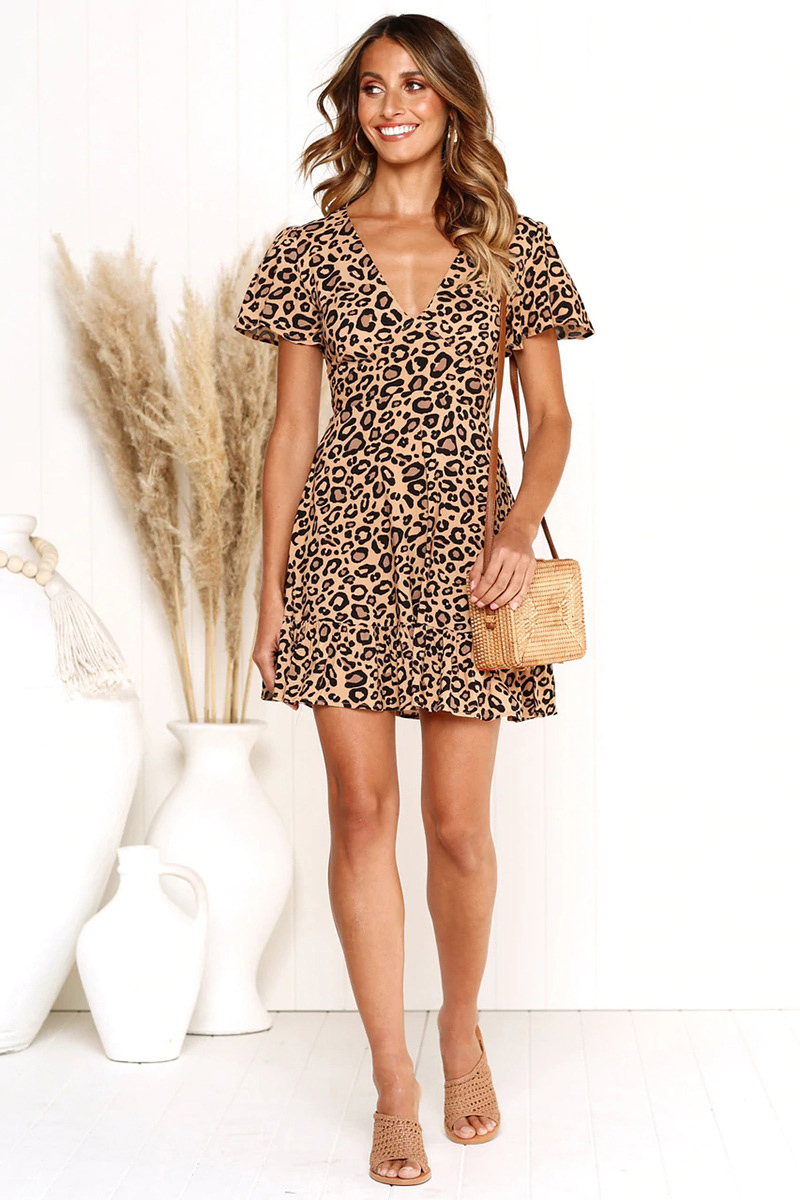 Forefair Print Leopard Dress sexy women short sleeve v neck Ruffle high waist Hem mini a line casual summer dress 2019 vestidos (12)