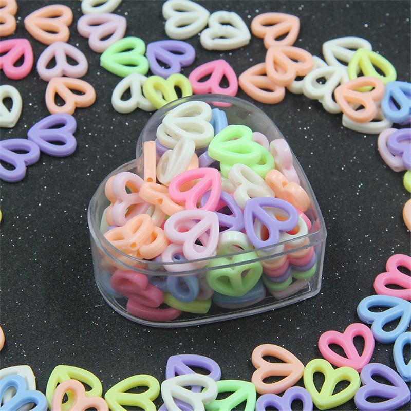 BoYuTe 500GBag Mix Colors 17MM Acrylic Heart Beads Children DIY Handmade Beads for Jewelry Making (1)