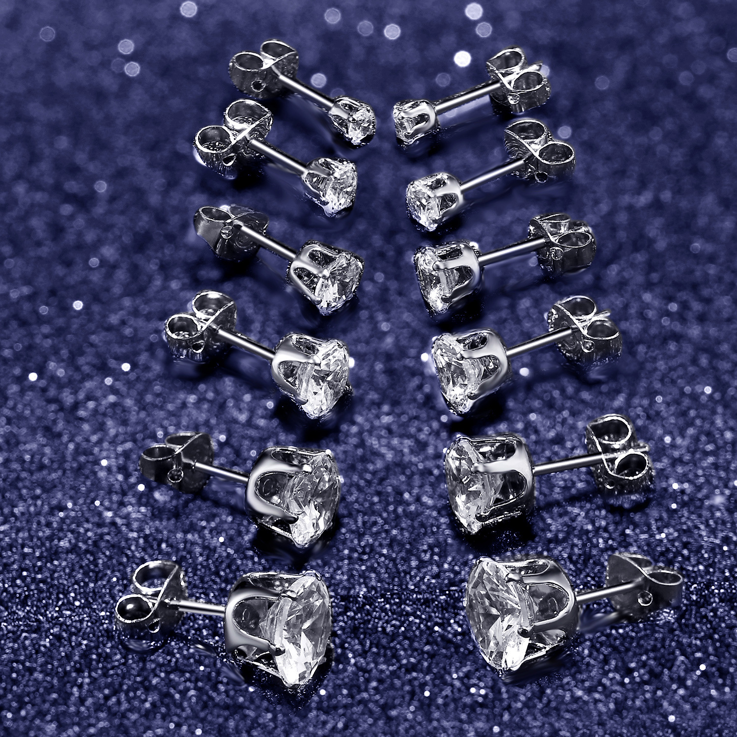 Christmas Stud Tiny Stud for Girls Hypoallergenic Stud with Cubic Zirconia Crystal Silver Studs Earrings for Women